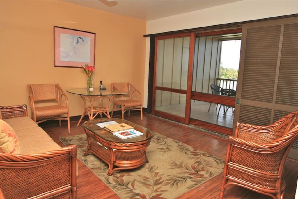 Living area looking out to lanai.