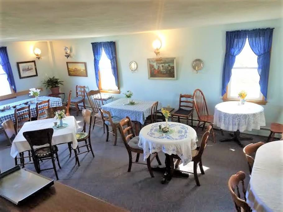 Dining Room - this is where you will enjoy our tasty homemade, hot breakfast, meet other guests, and start your day with information about the area. Also, a space for small groups to meet in the evenings to chat, play games, or have a drink.