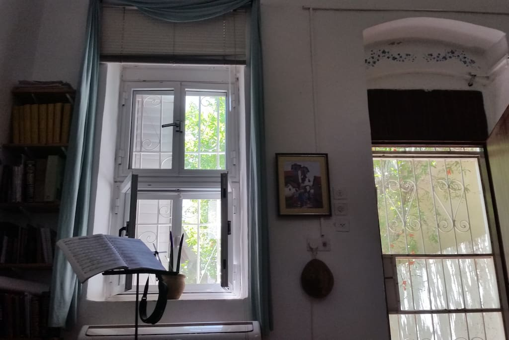 Lovely spacious 13x15' master bedroom, 14'ceiling with 6' high window looking out to patio. Door walks out to patio. Great fresh air movement, plus fan plus AC.