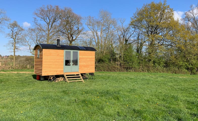 Shepherds hut with a view on an organic dairy farm