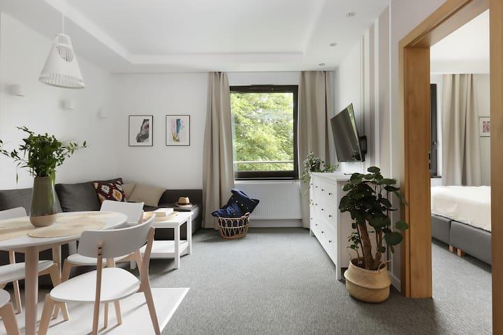 Apartament z przestronnym salonem w Gdańsku