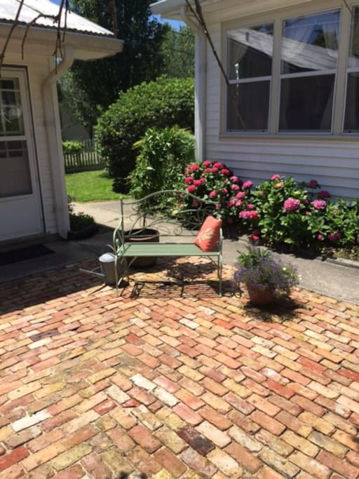 Brick patio between Main House and Guest House