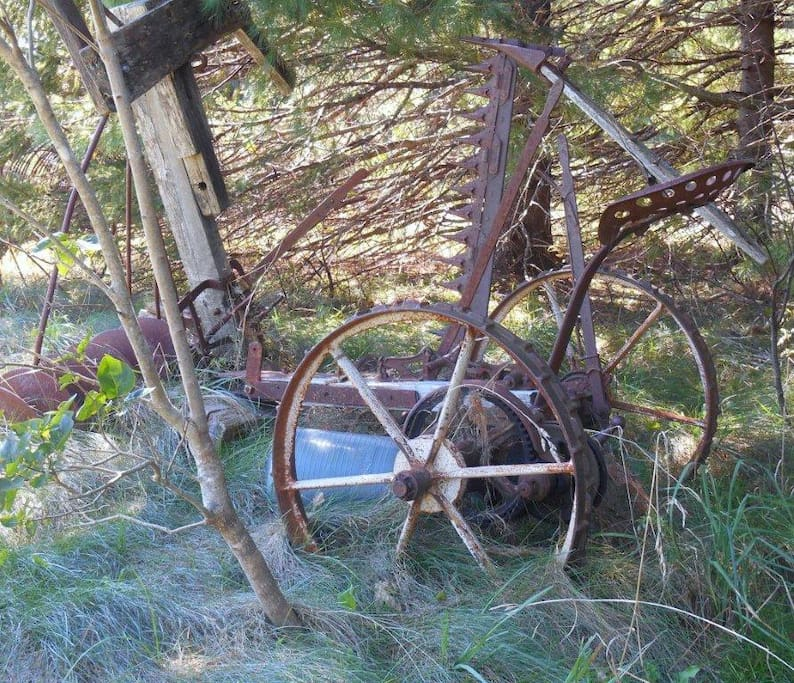 Acres of farm property with neat finds like this 100 year old farm equipment