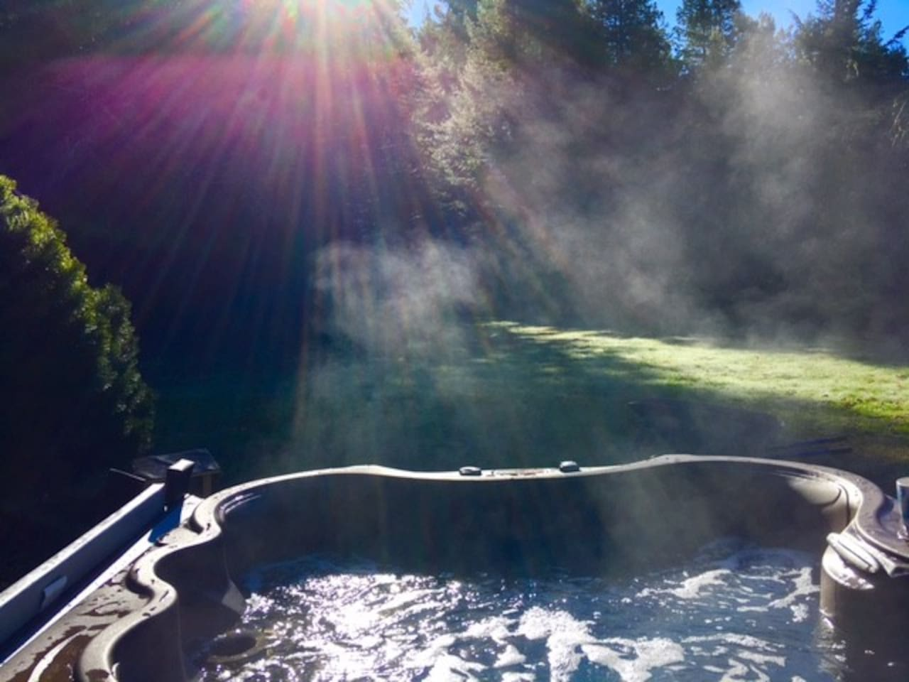 Hot Tub in the private meadow.