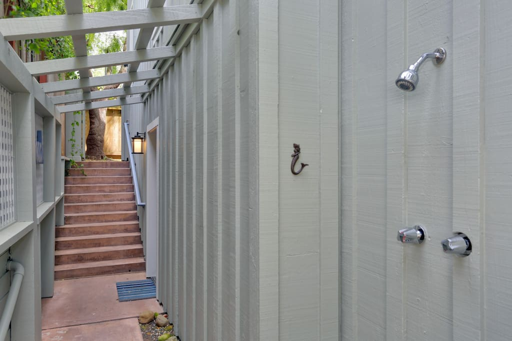 Enjoy using the outdoor shower after a day at the beach!