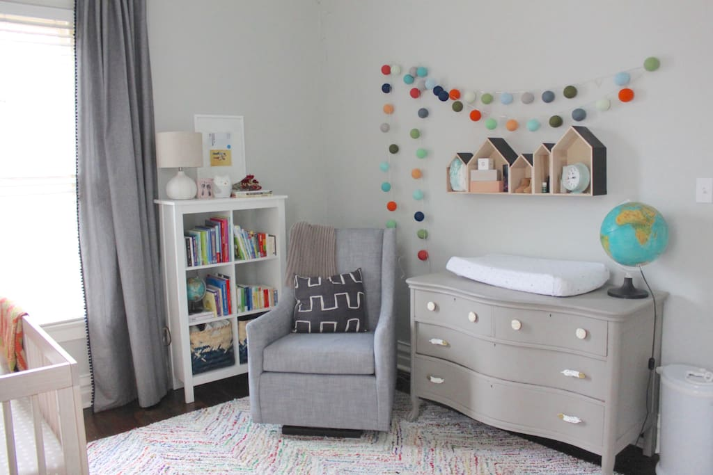 Nursery: If you're not rolling with a child, we'd be happy to provide an additional air mattress. The nursery is equipped with blackout curtains for babies and grown up babies alike. Night night little one ;)