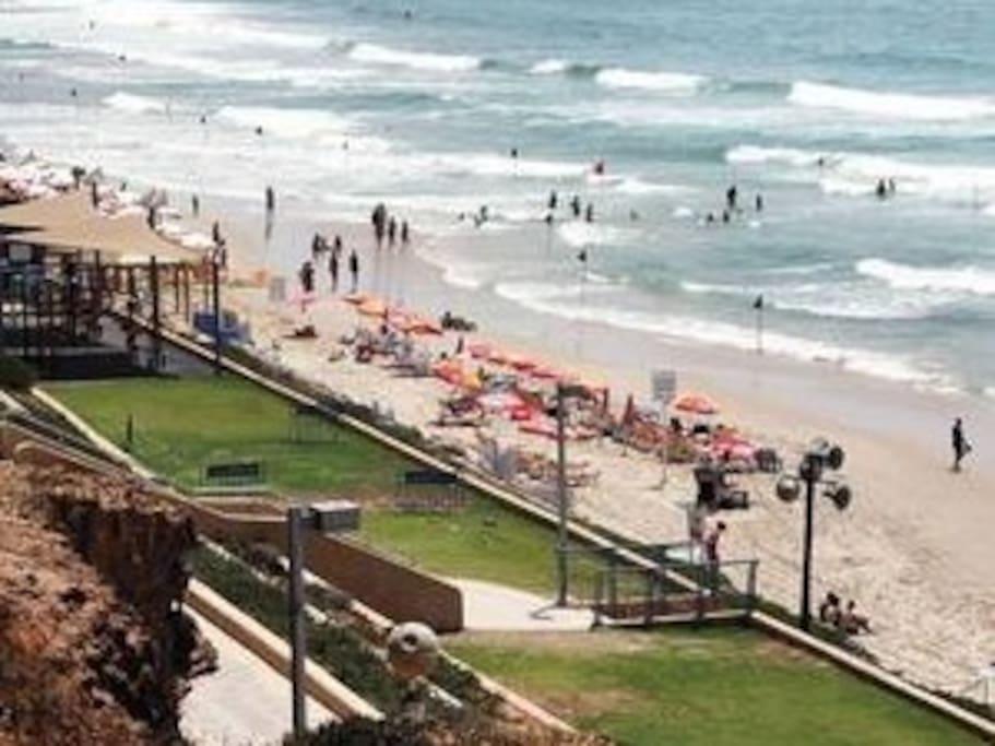 Nearest beach (Kiryat Chiam). 1 straight frequent bus ride from the door.