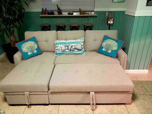 Sofa converts to a full size bed