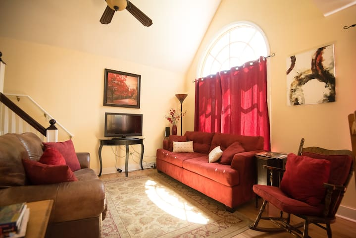 Living Room with full sleeper couch TV is equipped with local channels, firestick and chromecast.