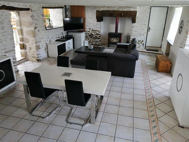 salle à manger /salon ( d'environ 50m2) avec cheminée