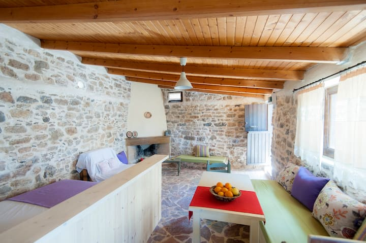 House in traditional village conected organic farm