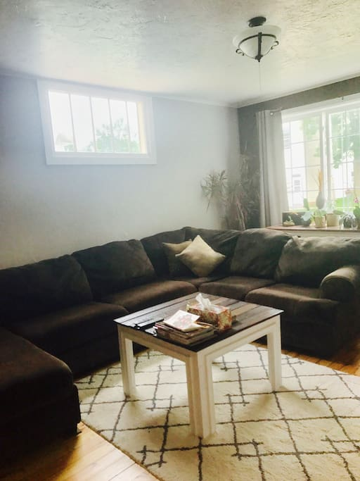 Living room beautifully decorated with hand crafted wood products pulling in the original refinished hardwood floor. Large comfy couch seats many people and can easily be used to sleep on. TV has RoKu stick, no cable.