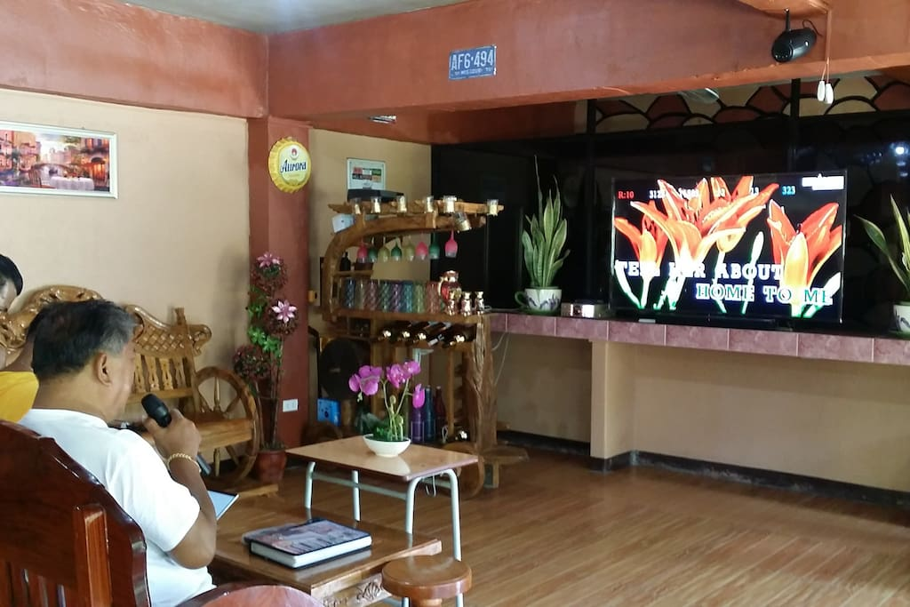 Large flat screen TV, equipped with sound system and videoke.