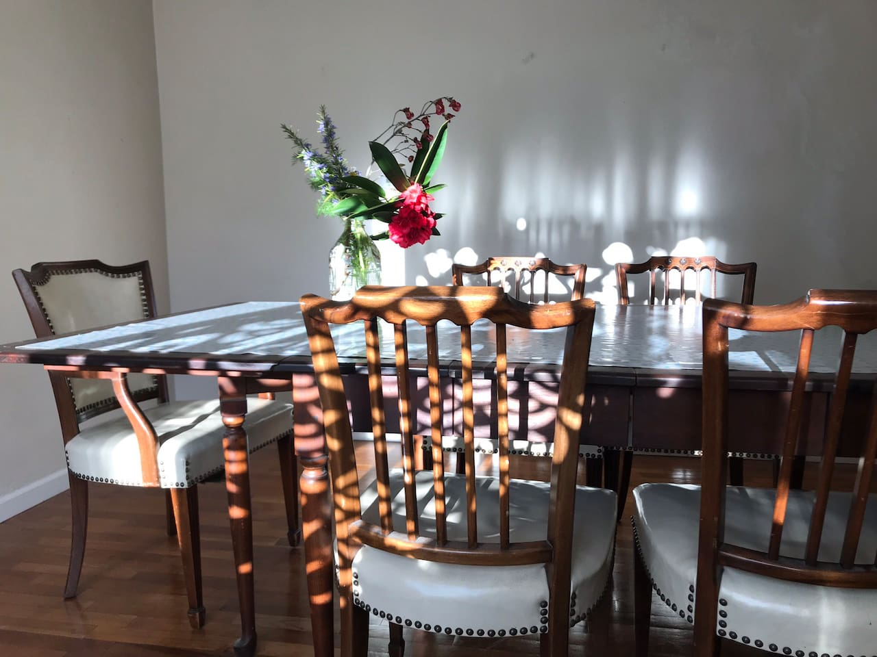 late afternoon in the dining room; the the table seats 10 comfortably