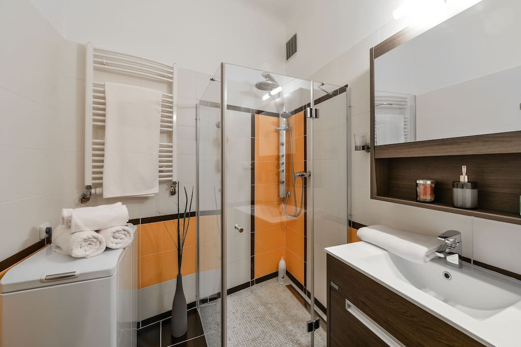 fully equipped bathroom with shower and a separate toilet to give you privacy