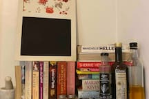Condaments, herbs, spices & recipe ideas in our well stocked kitchen.