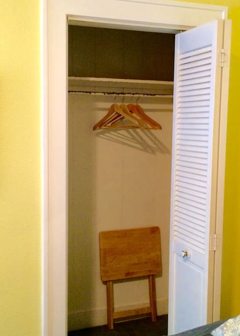 Big closet for bags & hanging clothes.