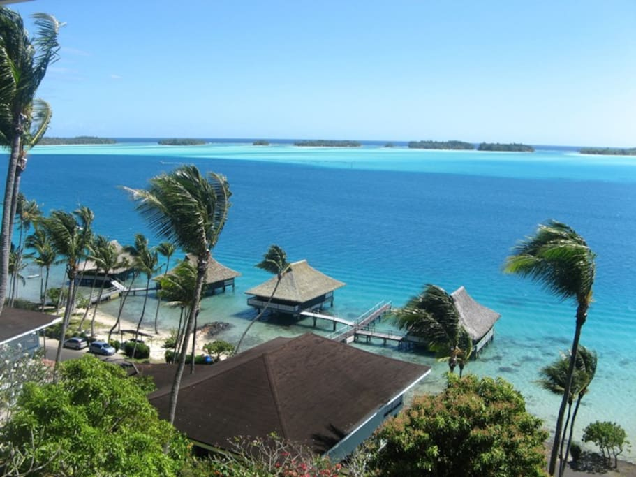 View of the lagoon of Bora Bora from the balcony