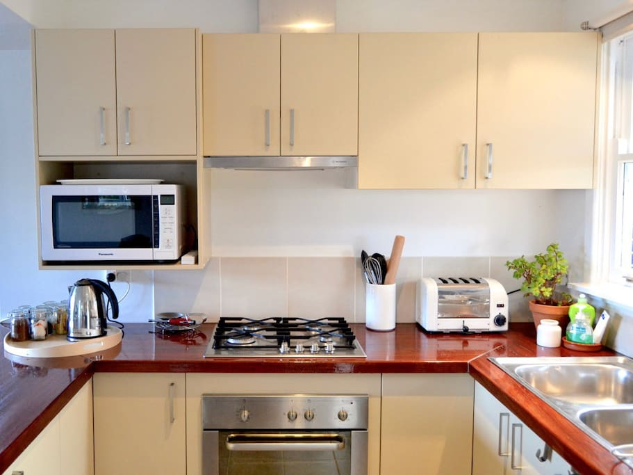 Fully equipped compact kitchen.  A variety of teas and coffees are provided and guests are entitled to a free coffee or tea in our Sprout Eden cafe in town plus 10% discount in the shop and cafe during your stay too.