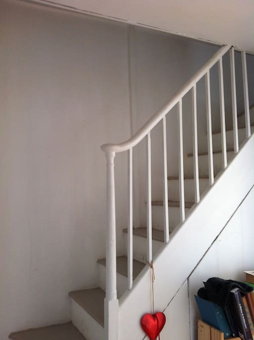 The stairs leading up to the attic room