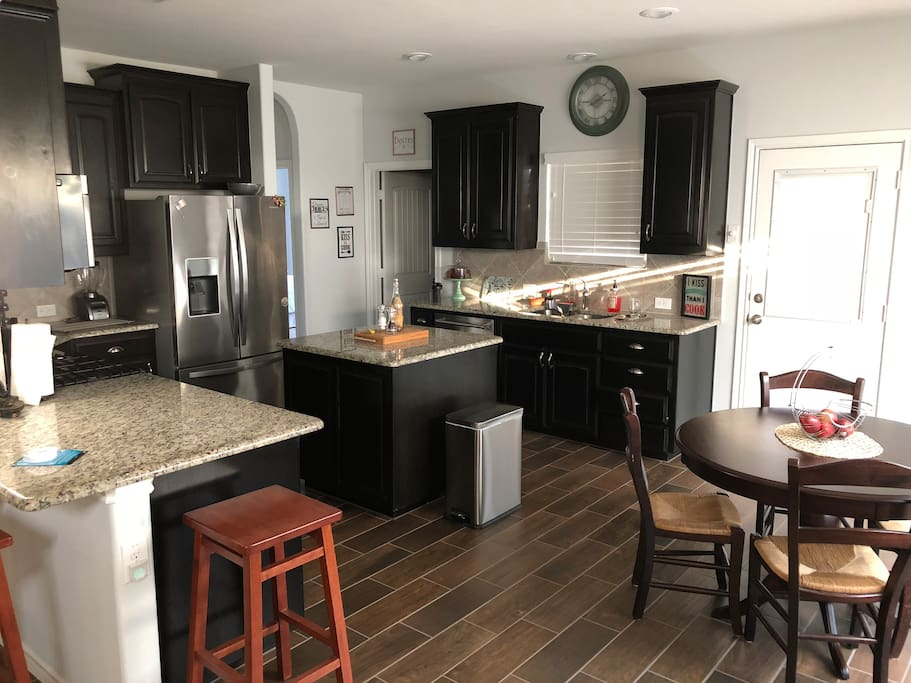 Kitchen with Microwave, Oven, Refrigerator