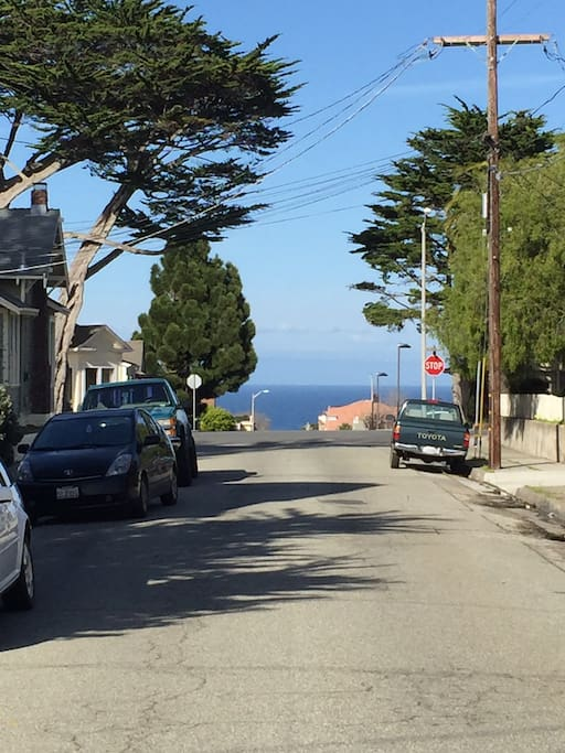 The Pacific Ocean is a short walk down the street!