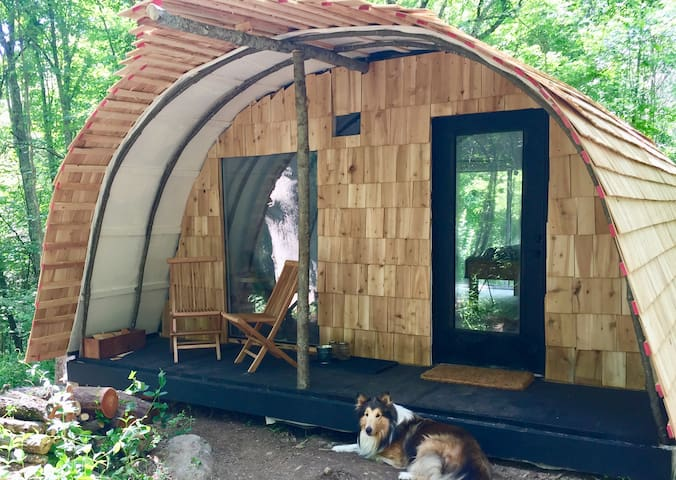 Cozy Scandanavian inspired Wigwam  with wood stove