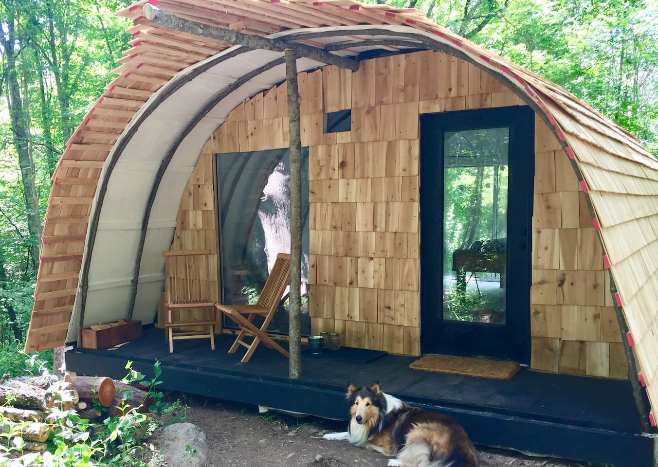 Cedar shingle fusion of a First Nation black birch wigwam and Scandinavian Longhouse surrounded by dappled forest and natures symphony.