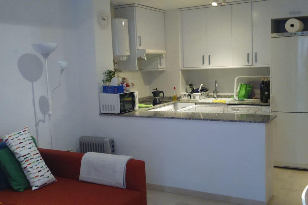 cocina integrada en salón con todo lo necesario, incluso lavaplatos