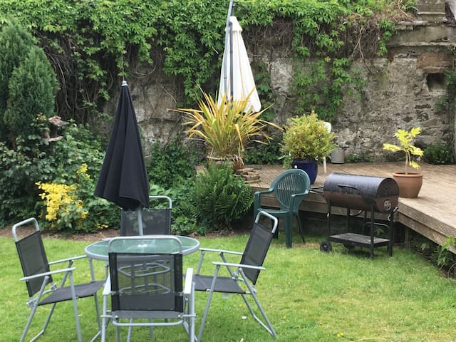 Our peaceful, sheltered garden with BBQ