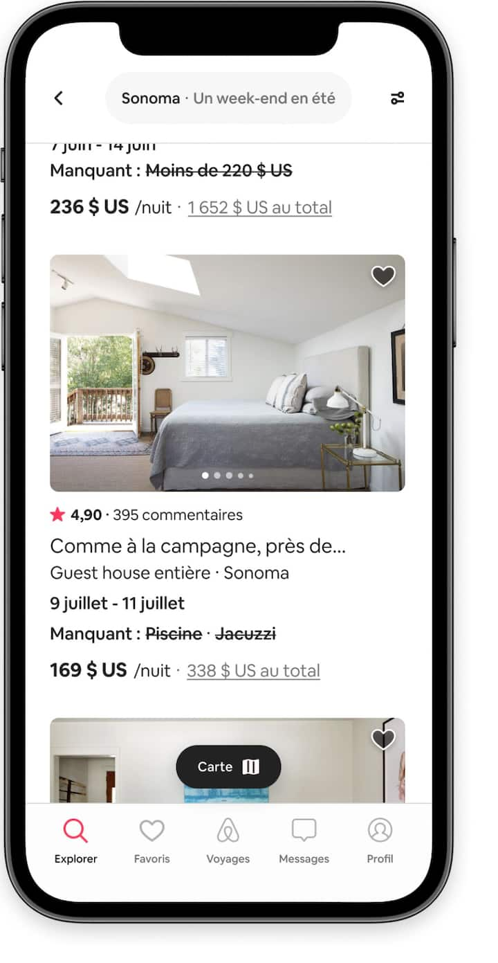 Les annonces de logements qui ne répondent pas à un ou deux filtres de recherche dans l'application Airbnb.