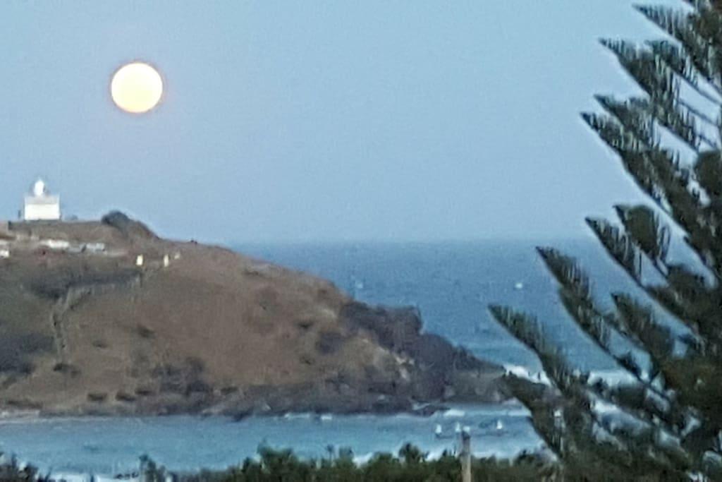 Full moon rising from the balcony