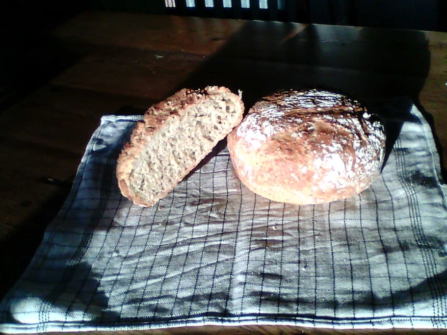 Homemade bread for breakfast