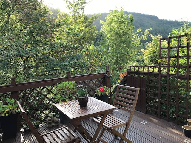 Decking with stunning views of the valley and sound of the river
