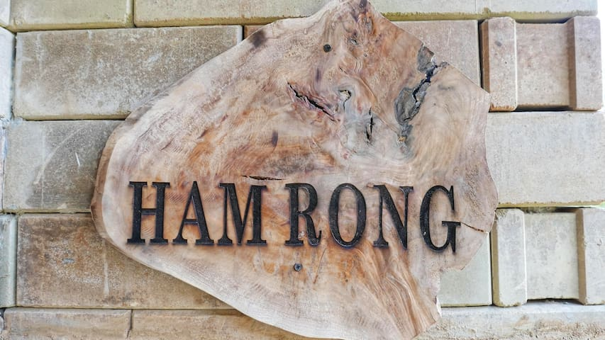 An elegant pallet backed sign for your lodge, unique decor for those who value great time right at lodge! Name of the lodge is Ham Rong which is name one of the mountain in Sapa.
