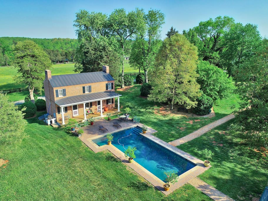 Aerial View of the Pool House