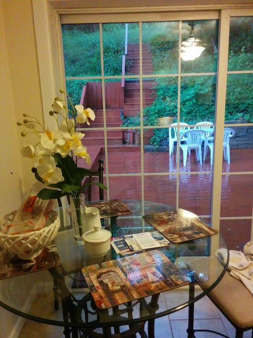 Breakfast table after the rain