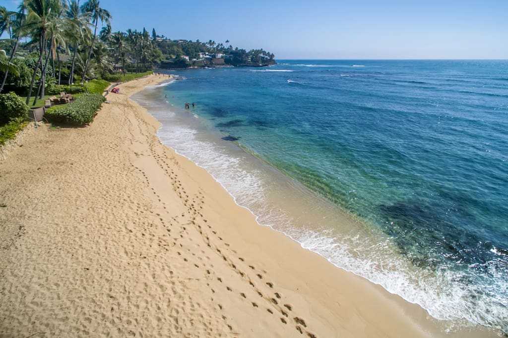 Two-minute walk from property to sandy beach and surf spots.