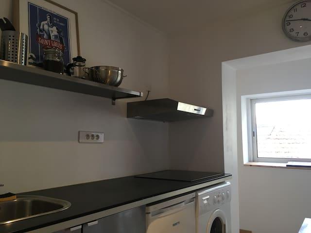 cuisine avec hotte, 4 plaques, micro onde, bouilloire
