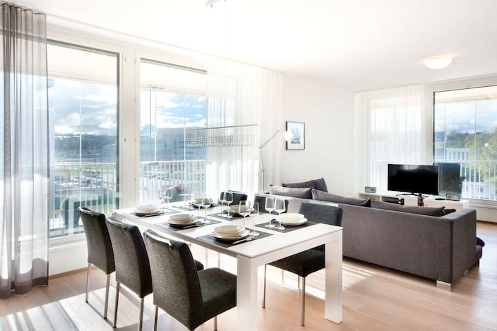A spacious luxury apartment with big balcony