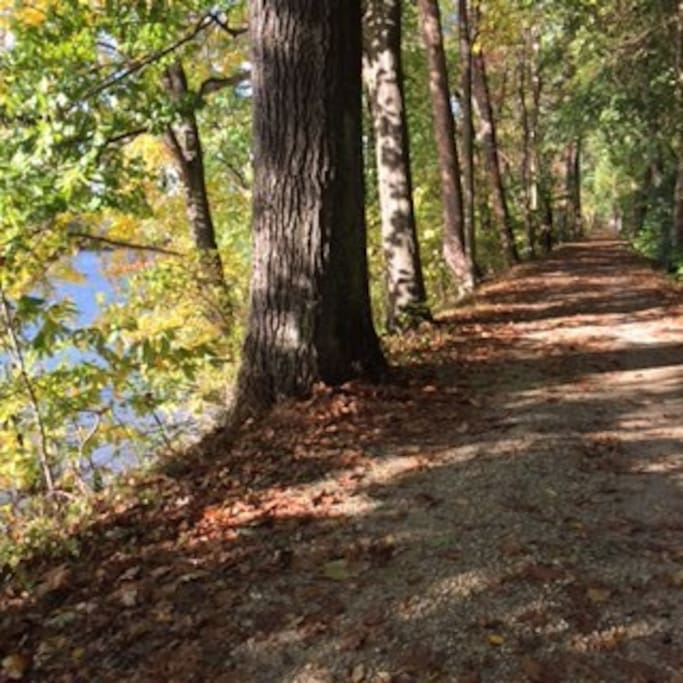 C&O Canal towpath next to the Potomac River--8 minutes away