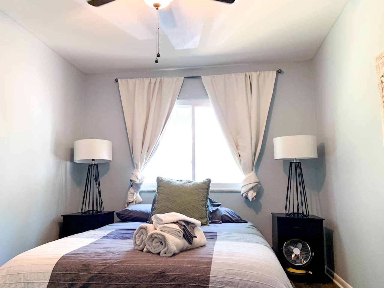 The rear unit's bedroom also features new blackout drapes for an extra hour of sleep! In addition, big, beautiful lights provide all the light you'll need for when the shades are closed. Ultra-comfy foam mattresses and fresh, clean duvets await!