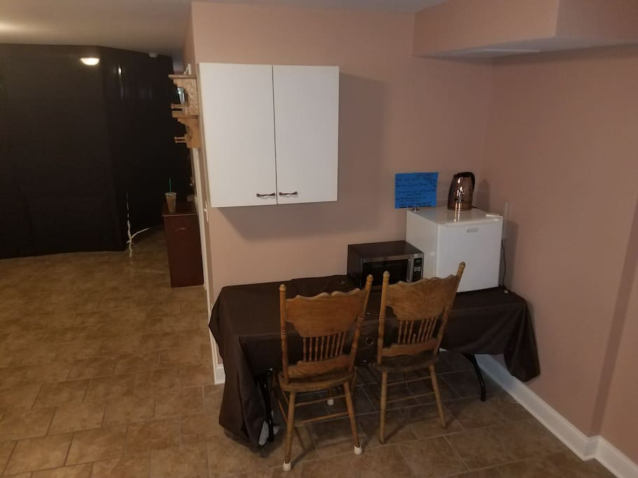 Dry Bar with mini fridge and microwave for cooking