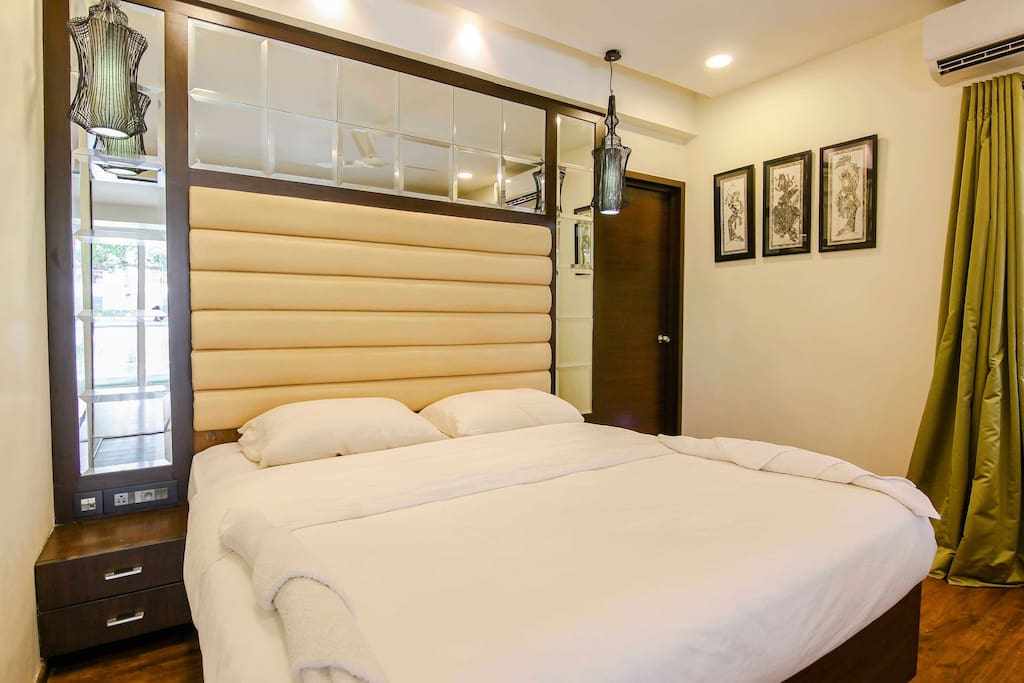 Neat interiors with straight lines showing the bedroom