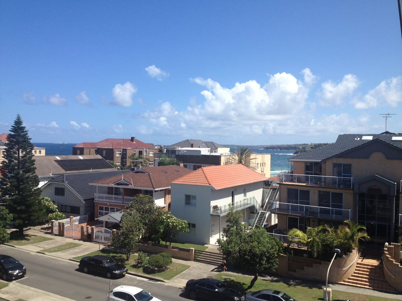 Ocean views from the balcony .