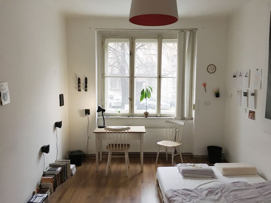 1st room - double bed and soundsystem