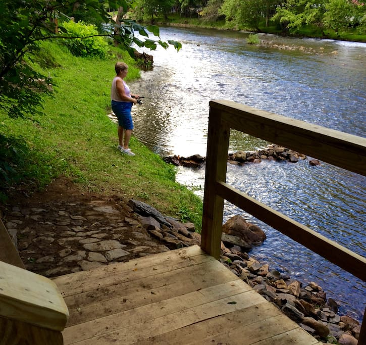 New lower deck gives easier access to the river.   Sit and watch the kayakers or fish.