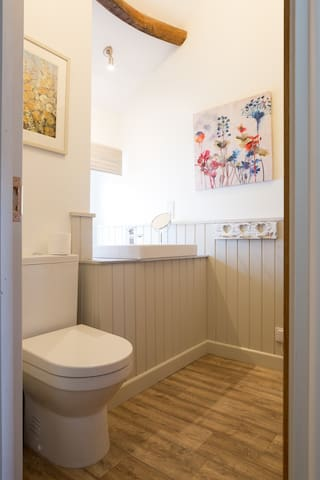 The newly created bathroom is beautiful.