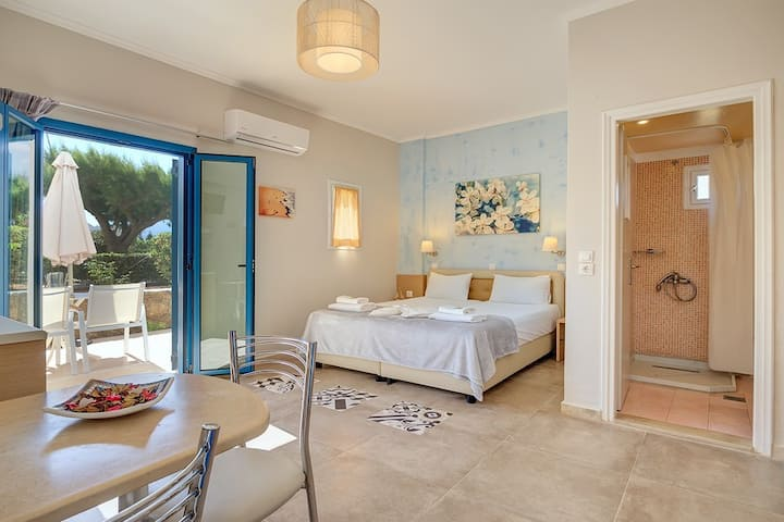 Pyrgos beach hotel, studio with garden view