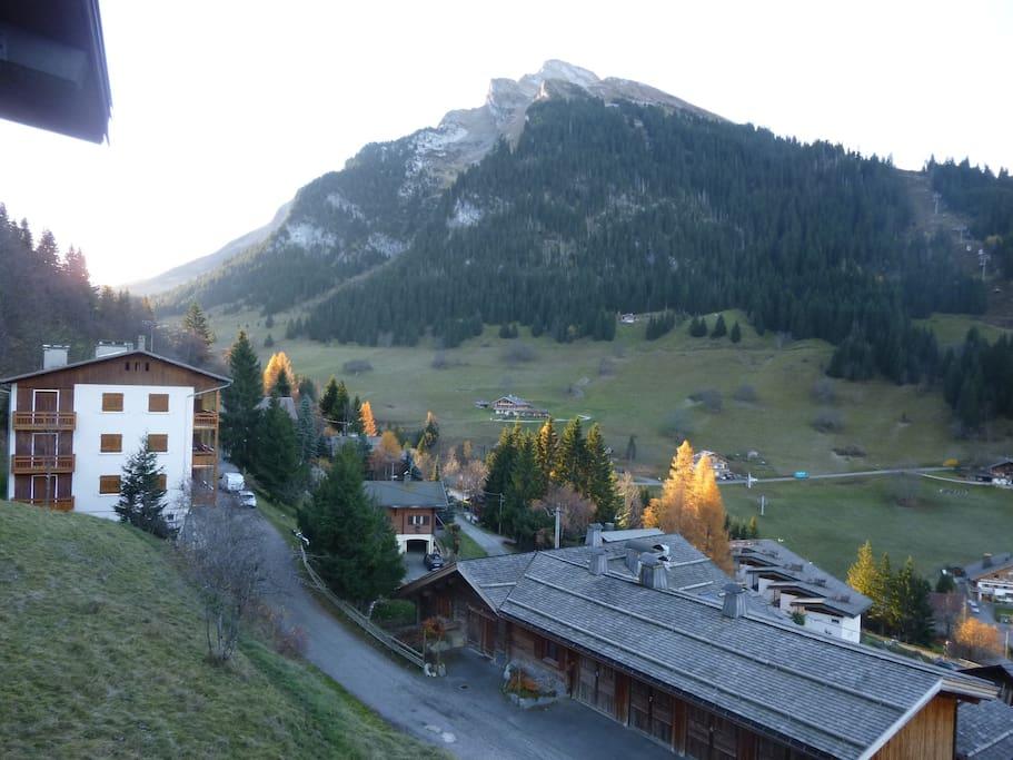 """vue depuis le balcon sur """"l'étale"""", encore plus beau en hiver sous la neige !"""